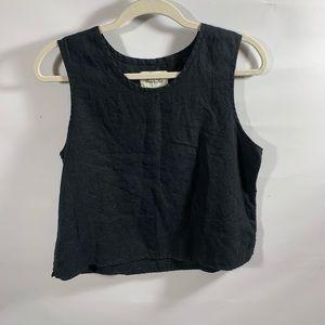 Flax | 100% Linen Black Sleeveless Top Sz S